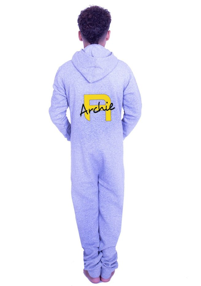 grey unisex onesie with yellow printed name