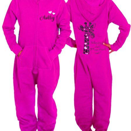 pink cute onesie giraffe print personalised gymnast gifts