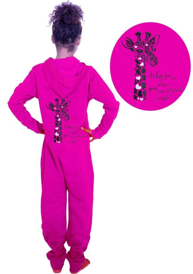 pink onesie why fit in giraffe print