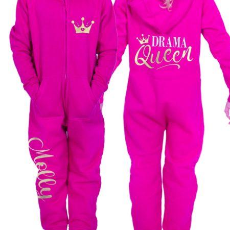 pink onesie with slogan print in gold drama queen gymnastics onesie