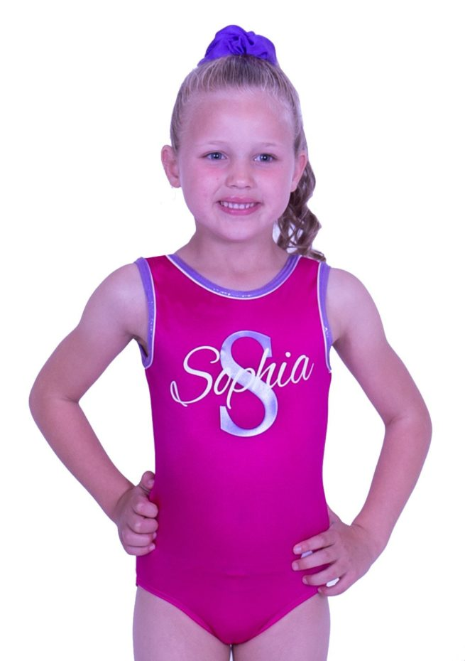 sleeveless pink lycra leotard with named personalised gym leos