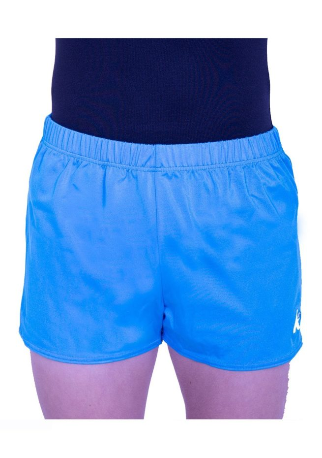 trampolining shorts in turquoise blue