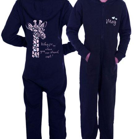 unisex black onesie personalised with giraffe print