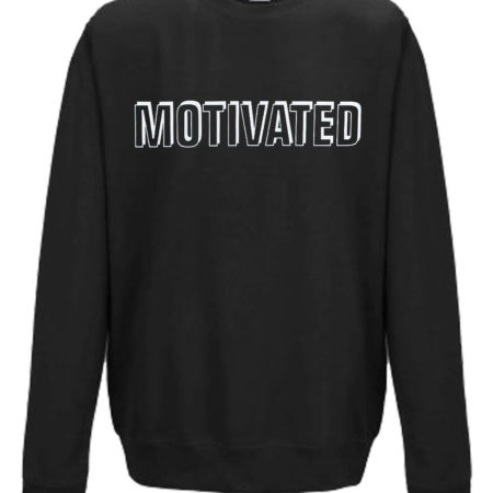 Black Motivated Print in white