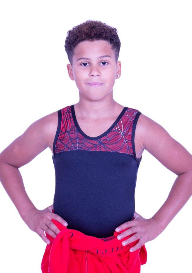 Black lycra boys leotard with spiderman printed top