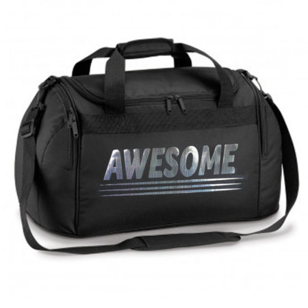 Black sports bag holdall with ambition print