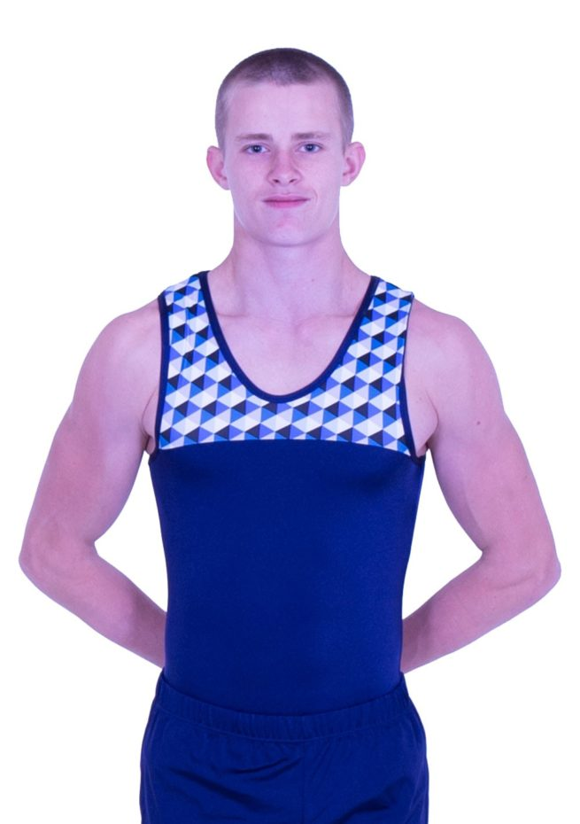 Boys navy and patterned gymnastics leotard