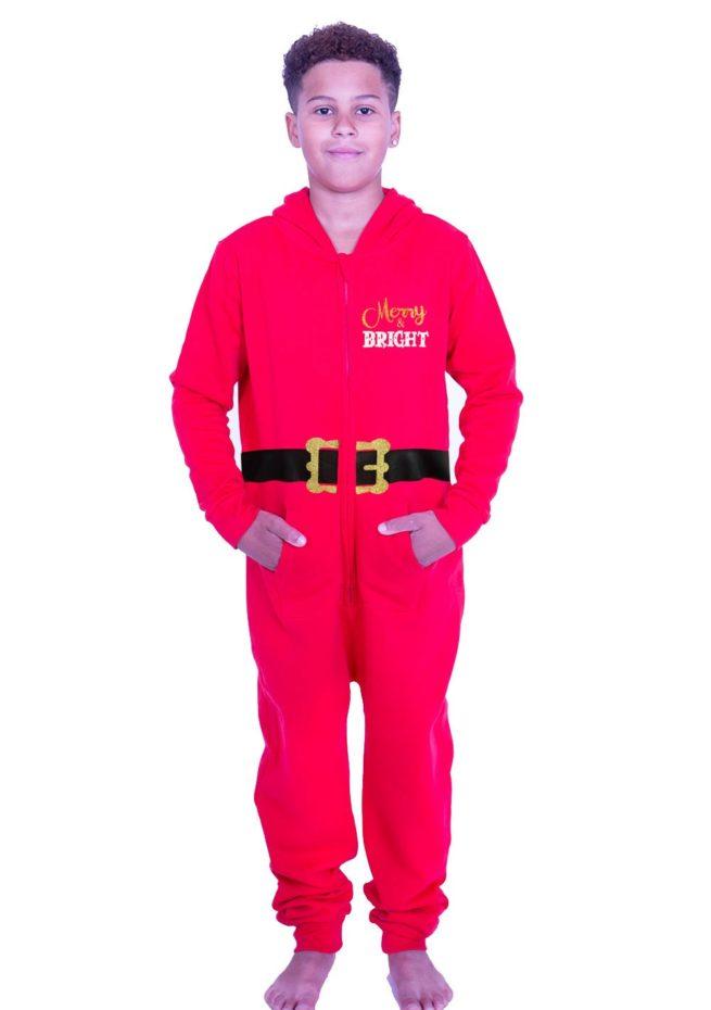 Boys red santa christmas onesie novelty xmas onesie pajamas