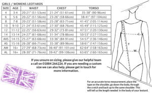 Girls ladies size chart