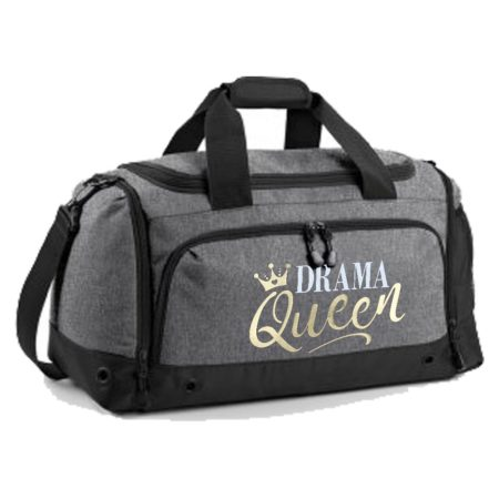 Grey holdall with drama queen print
