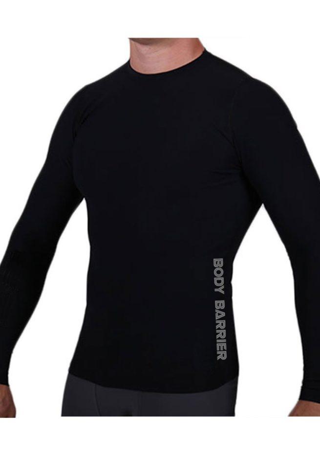 Mens black base layer top