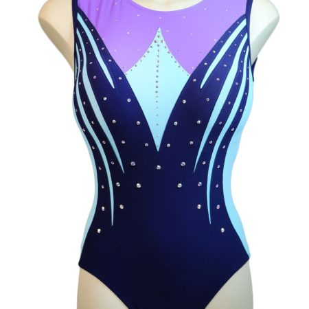 Z558N02 N27D navy lilac and aqua matt girls leotard