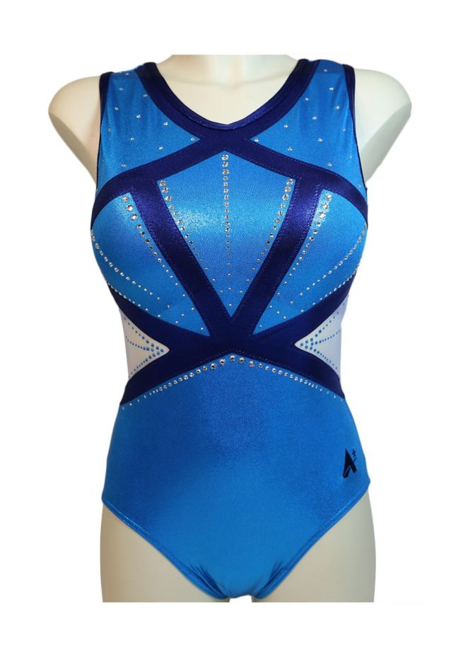 Z579AS52 S02D turquoise blue girls leotard with mesh side fancy competition leo