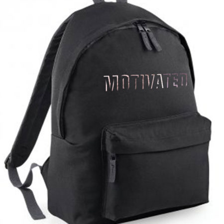 black backpack with motivated print