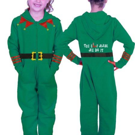 christmas onesie with elf print xmas pajamas