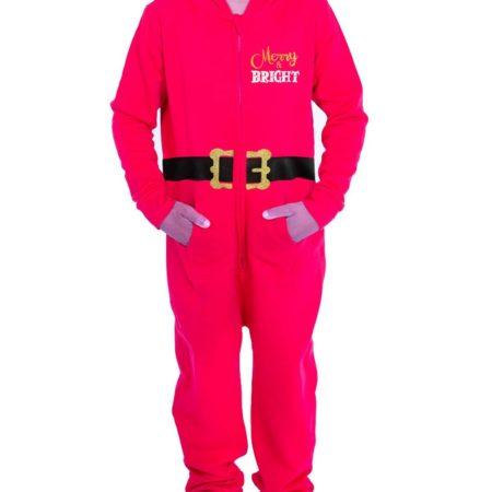 front Boys red santa christmas onesie novelty xmas onesie pajamas