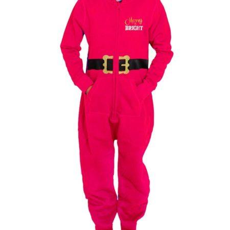 front red girls onesie Christmas santa novelty xmas pajamas
