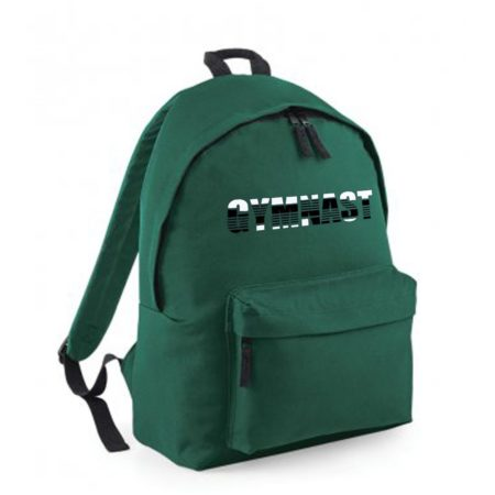 green backpack GYMNAST print