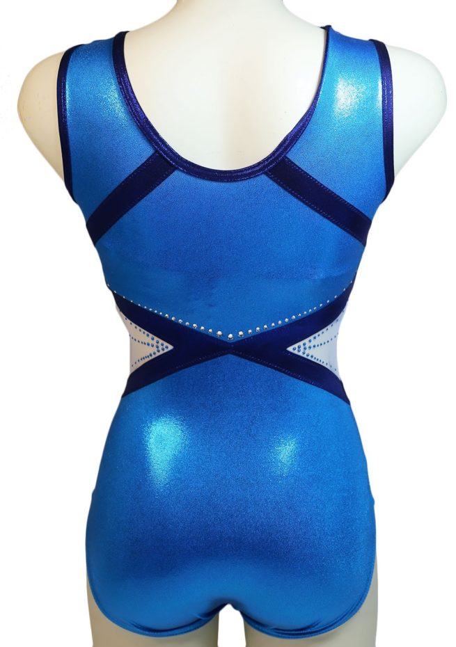 gymnastics leotard in turquoise blue with navy detail and white mesh