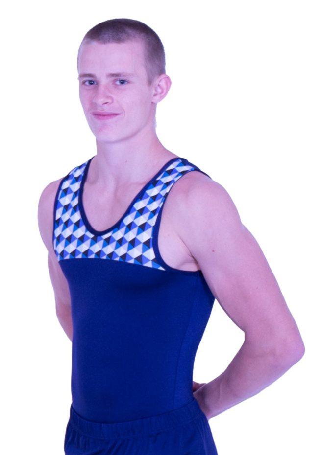 mens navy and patterned gymnastics leotard