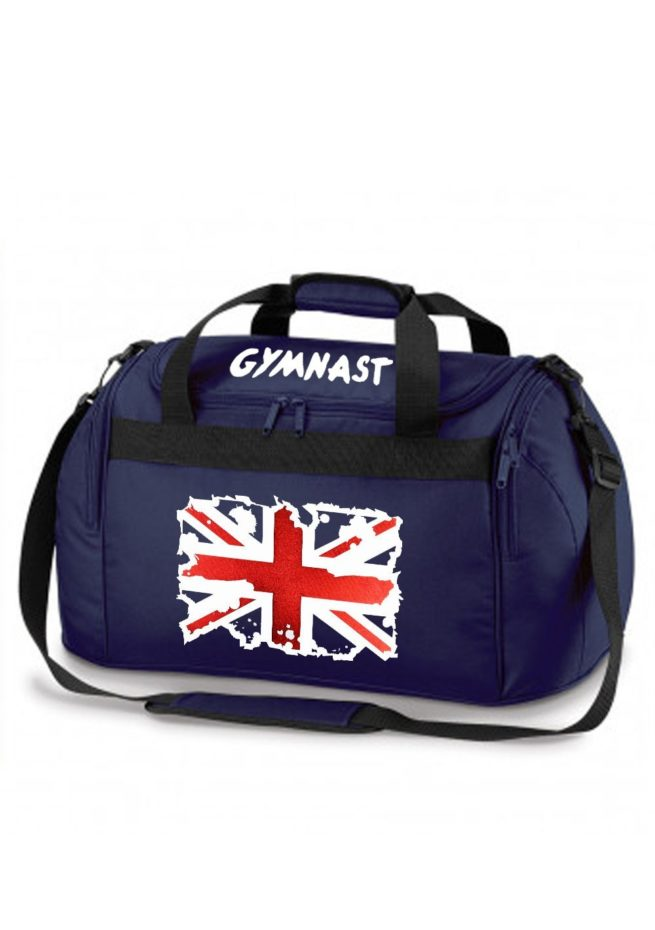 named navy holdall with union jack metallic print