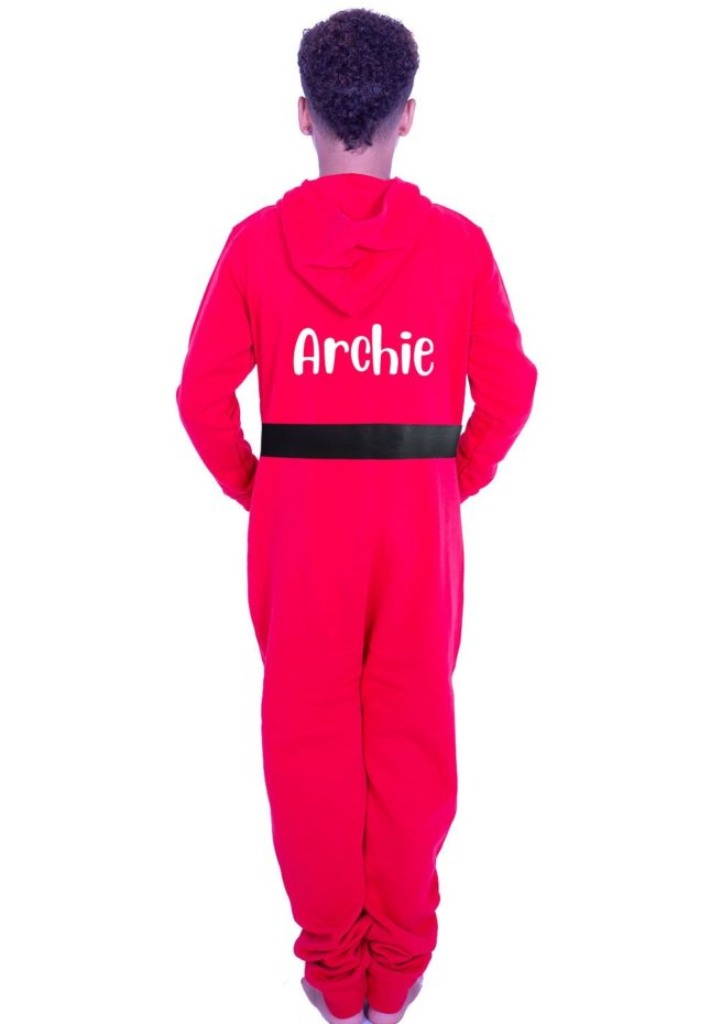 red boys christmas onesie personalised with name