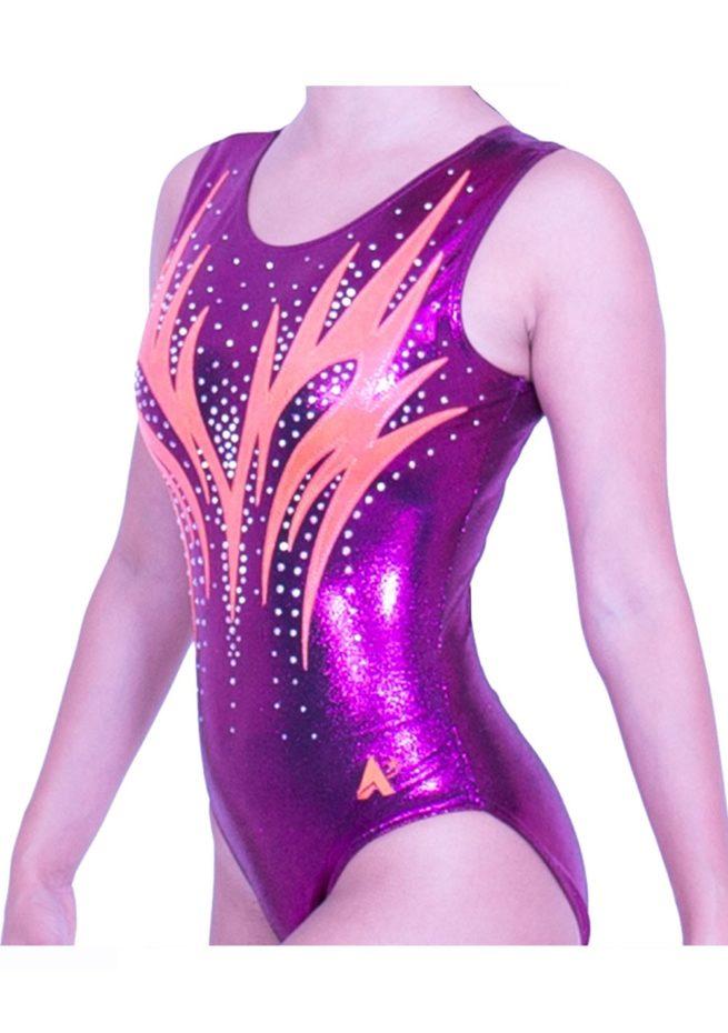 sleeveless purple pink gymnastics leotard for girls