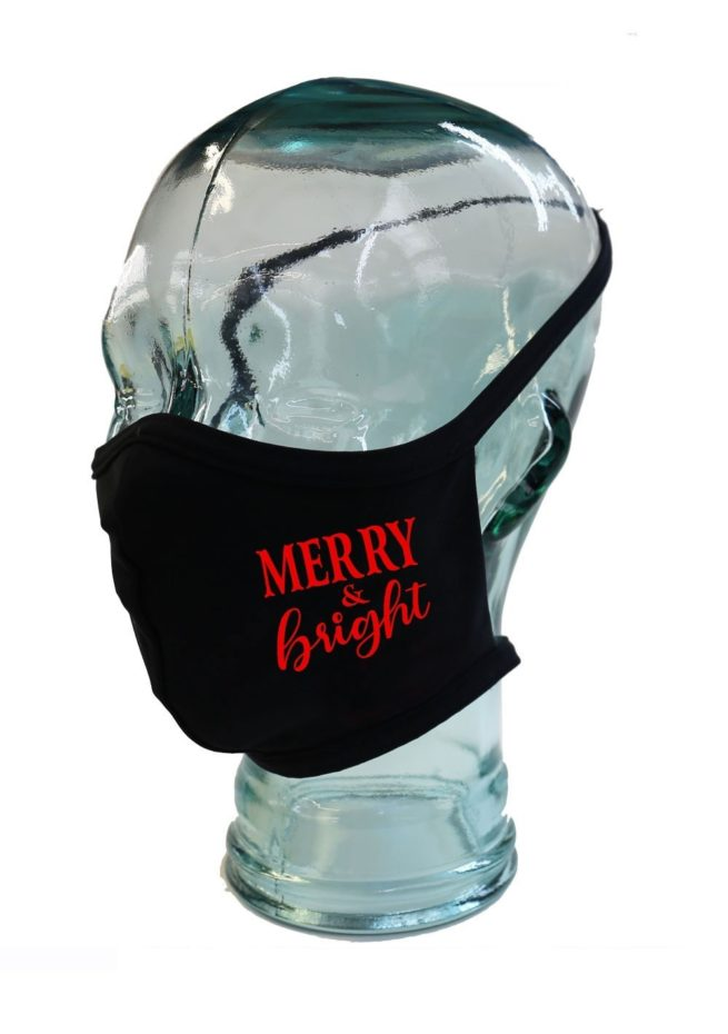 Merry and Bright black with red print 1