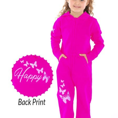 pink girls onesie with happy butterfly print