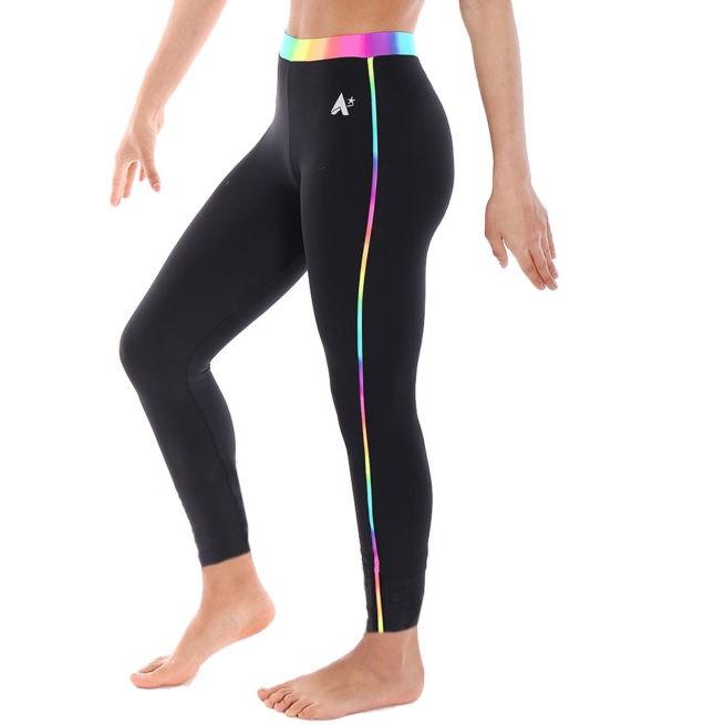 ankle length Black lycra leggings with Rainbow waistband