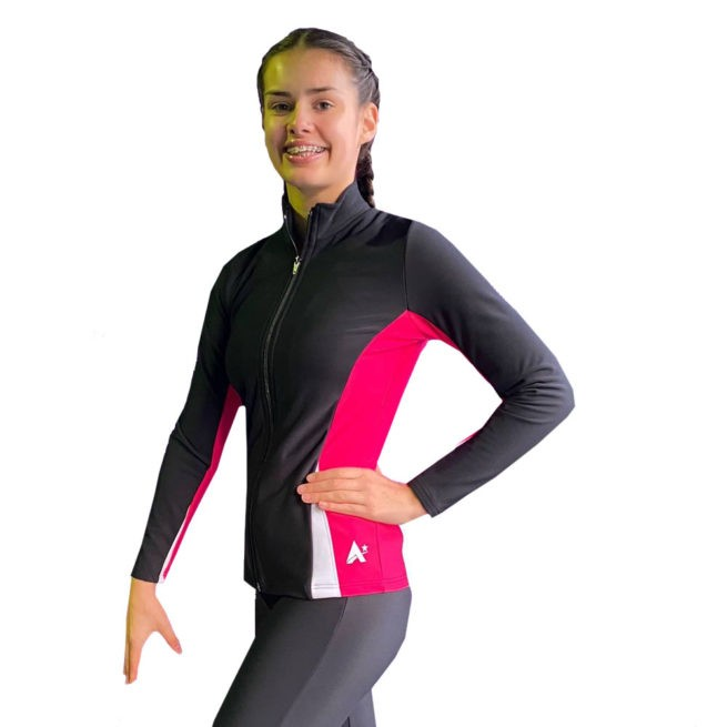 ladies gymnastics trampoline sports jacket black pink and white