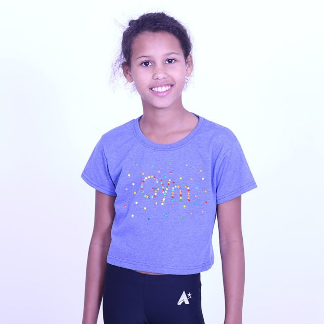 Cropped top with gym diamante design