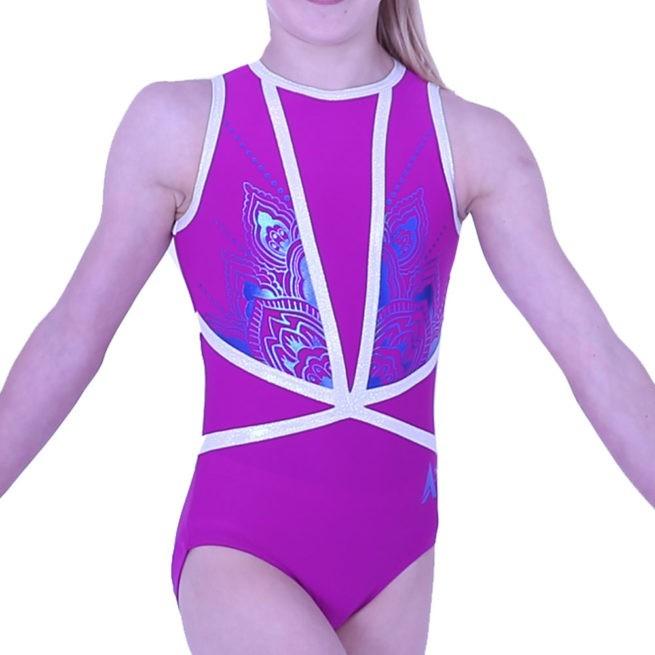Z433N45 S69P girls high neck purple leotard with printed pattern