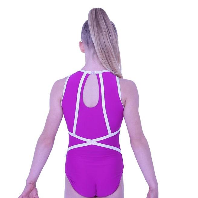 Z433N45 S69P purple high neck gymnastics dance leotard with print