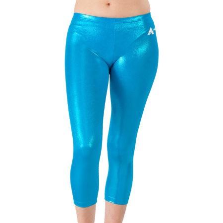 Azure Shimmer turquoise foil leggings