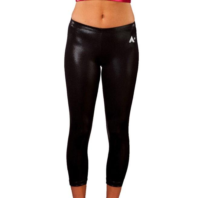 Black Shimmer ladies cropped leggings