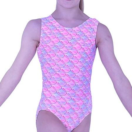 Pink and Blue girls mermaid training budget leotard