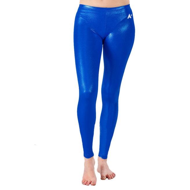 Sapphire Blue Shimmer ladies gymnastics full length leggings