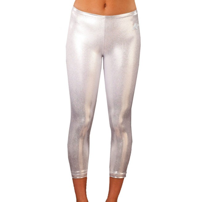Silver Shimmer cropped three quater length leggings