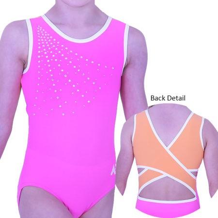Z261N15 N55 pink orange bright fancy back girls leotard