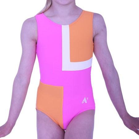 Z85N15 N55 orange and pink girls training leotard in lycra