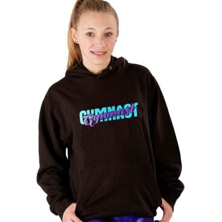 black hoodie with purple slogan gymnast print